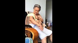 Asian 80 Granny After bath