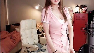 Korean sexy teen camgirl in stockings and uniform