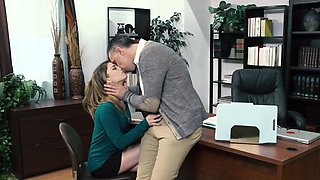 Student girl gives a head to her teacher and rides his dick