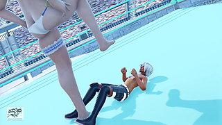 SatriaPara 3d mmd femdom facesitting trampling foot worship