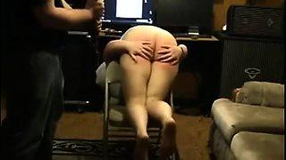 Kinky amateur babe with a lovely ass enjoys a hard spanking