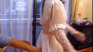 Asian in bride dress shows butt upskirt