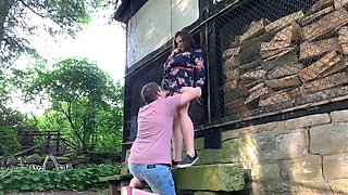 Chubby girlfriend and her boyfriend having a lot of fun outdoors in public park