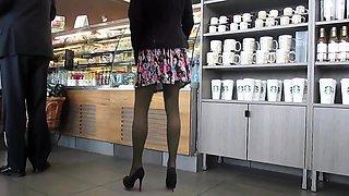 Sexy slender amateur hottie in stockings upskirt in public