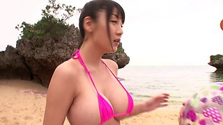 Asian in thong gets pussy banged outside after titty fucking