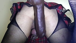 Fucked by Bam Bam dildo on electric fucking machine