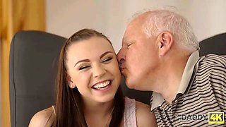 DADDY4K. Enticing chick copulates with BFs handsome daddy in bedroom