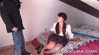 PUTA LOCURA Cute teen schoolgirl fucked by a midget
