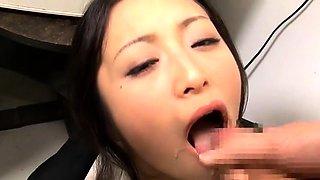 Kinky Oriental girl takes a huge load of semen in her mouth