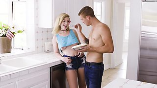 Bimbo blonde loves whipped cream and sex with boyfriend
