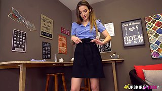 Lustful waitress Verinika takes off panties and shows stretched twat upskirt