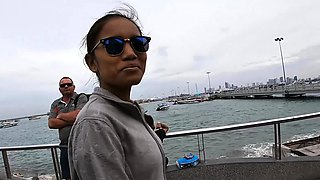 Boat trip with my Asian teen girlfriend became sex in public