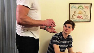 FamilyDick - Sexy muscle daddy punish fucks son for smoking