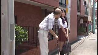 young jap schoolgirl is seduced by old man in bus