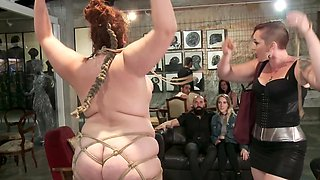 Chubby slave dominated by studs and mistress in local bar