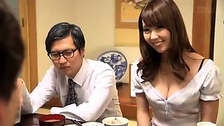 Alluring Japanese wife has a young man drilling her snatch