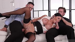 Jasmine Jae is a smoking hot brunette milf, who likes to get spit- roasted on the sofa
