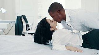 Smoking hot brunet babe Rina Ellis is making love with black lover