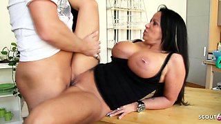 German Hot Mother Katie Seduce Friend of her Son to Fuck