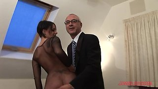 Provocative slut Victoria Brown in fishnet fucked by an old guy