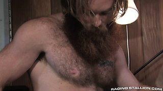hot mountain man shoves his massive cock in cute hairy stud