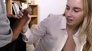 Sweet babe takes a huge load of cum on her tits