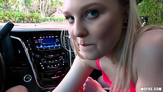 lily rader pays for the fare with a blowjob