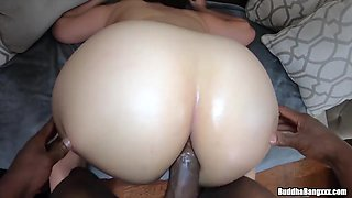 Voluptuous brunette with big milk jugs is eager to get fucked hard, in the ass