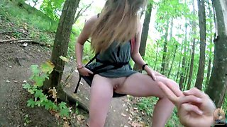 Teen without panties pissing in the park