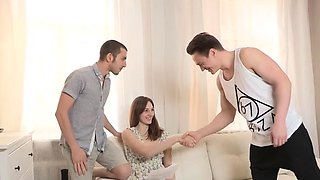 Kinky barely legal russian brunette Ariadna gets hard fuck