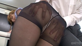 Tearing up black pantyhose and fucking the secretary slut