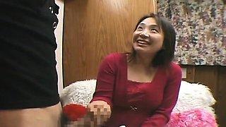 Subtitled CFNM bottomless Japanese oil massage handjob