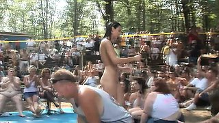 A bunch of crazy women get naked and start dancing for the camera
