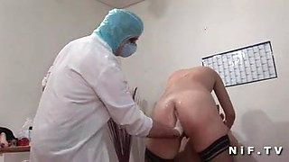 French slut gets anal fucked and double fisted at gyneco