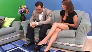 Cuckold husband watches his wife fuck a hunkier man