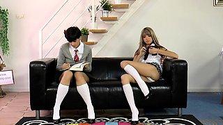 Posh British MILF spanks naughty schoolgirls