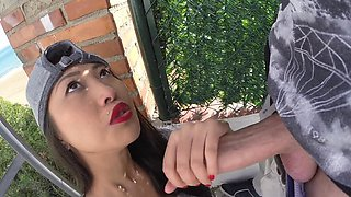 Cool Asian chick is ready to have fun right on the street