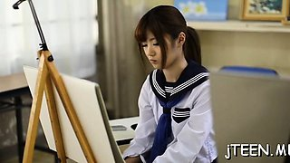 Cute japanese schoolgirl gets screwed in plenty of positions