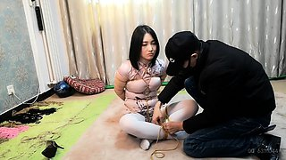Lovely Asian babe in pantyhose learns a lesson in bondage
