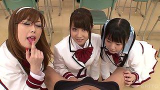 three japanese girls sharing cock to get good grades