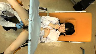 Pretty Asian schoolgirl has a kinky doctor using her pussy