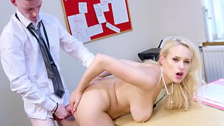 A blonde ends up getting fucked during her summer job in office