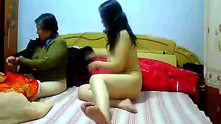 Asian mature babe has sex with maid