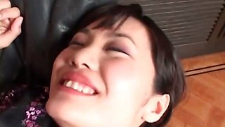 Asian beauty gets hairy twat fucked hard