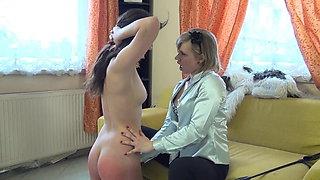 Hot blonde lesbian mistress punishing her slave girl