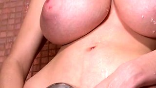 Perfect busty girl plays with her huge knockers