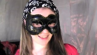 Masked teen with a perfect ass worships a big cock in POV