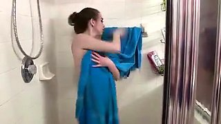Brother Spies on Not Real Sister Taking Shower