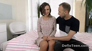 Cute Masha Grachova is caressed before defloration