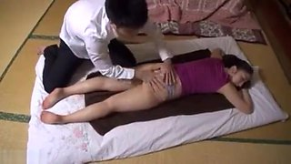 japanese son force stepmom with massage